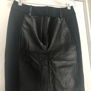Faux leather and ponte pencil skirt